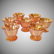 Federal Glass Normandie Iridescent Sherbets Set 7