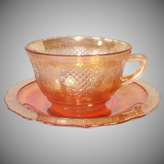 Federal Normandie 1930s Iridescent Glass Cup and Saucer