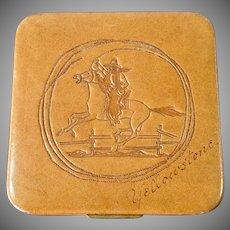 Rex Leather Cowboy Powder Compact Yellowstone Souvenir