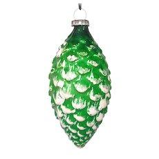 1930s Japan Green Glass Pine Cone Christmas Ornament