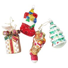 Stockings, Package, Tree Glass Christmas Ornaments