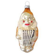 Accordion Clown West German Glass Christmas Ornament