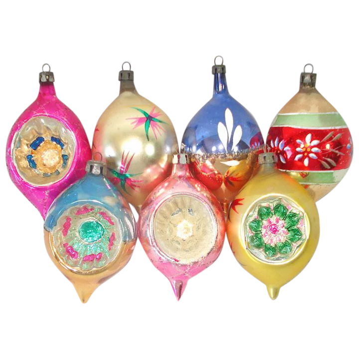vintage SEVEN indented teardrop glittered Christmas glass ornaments painted  ornaments holiday decor christmas tree ornaments