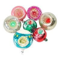 6 West Germany Indent Glass Christmas Ornaments