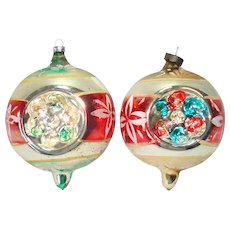 Pair Jumbo German Triple Indent Glass Christmas Ornaments
