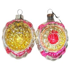 1930s German Indent Walnut Glass Christmas Ornaments