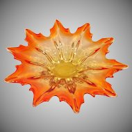 Murano Autumn Leaf Shape 12 Inch Amberina Bowl