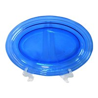 Hazel Atlas Cobalt Blue Moderntone Oval Serving Platter