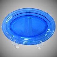 Hazel Atlas Cobalt Blue Moderntone Oval Serving Platter