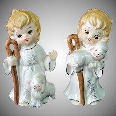 Josef Originals 1960s Christmas Shepherd With Lambs Figurines