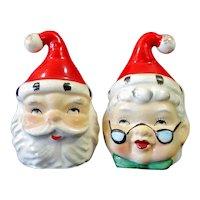 Lefton 2 Sided Santa Mrs Claus Christmas Salt Pepper Shakers