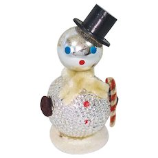 Glass Chenille Whimsy Snowman Christmas Ornament