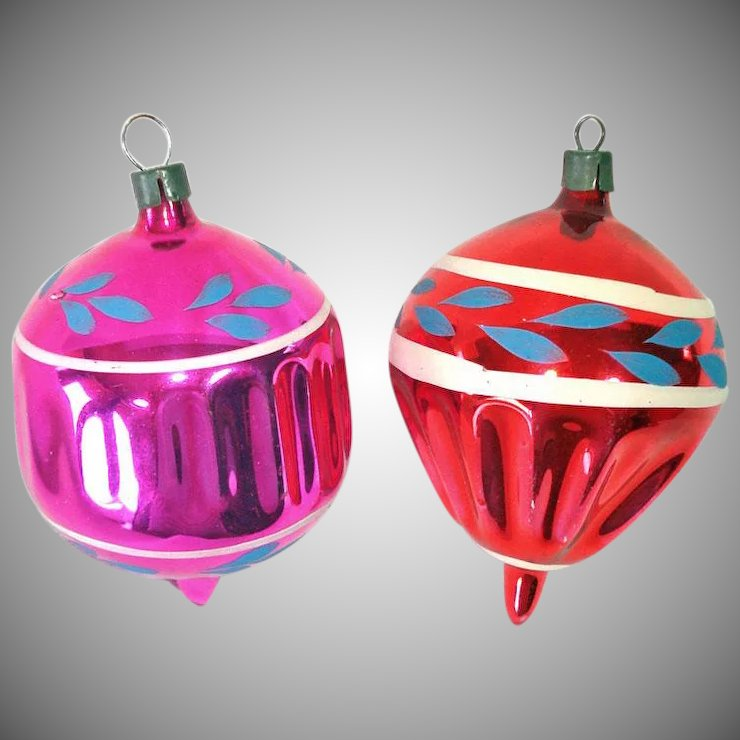 premier 1930s hand painted blown glass christmas ornaments