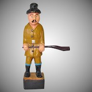 Folk Art Carved Wood Longshoreman With Club Figure