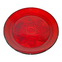 Durand Antique Pattern Ruby Glass Dinner Plates, 4 Available