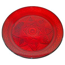 Durand Antique Pattern Ruby Glass Dinner Plates, 5 Available