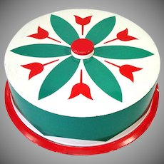 Red Green Tulips Large Tin Litho Cake Saver Keeper Carrier
