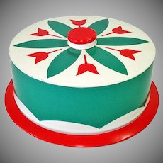 Red Green Tulips Small Tin Litho Cake Saver Keeper