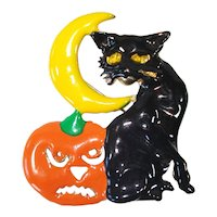 Halloween Black Cat Pumpkin Moon Brooch Pin