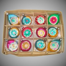 Box Poland Fancy Flower Indent Glass Christmas Ornaments