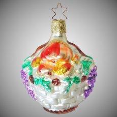 Fruit Basket German Glass Christmas Ornament Mint in Box