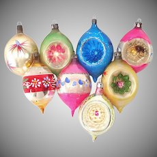 Poland Large Teardrops 1950s Glass Christmas Ornaments