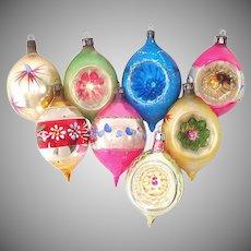 Poland Large Teardrops 1950s Glass Christmas Ornaments