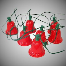 String 1950s Christmas Lights Big Red Bell Shades