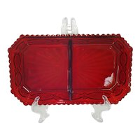 Fostoria for Avon Ruby Cape Cod 2 Part Relish Dish