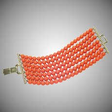 Coro Pegasus 7 Strand Coral Color Bead Bracelet