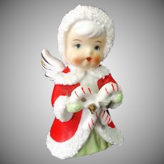 Enesco 1960s Angel With Candy Canes Christmas Figurine