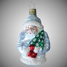 White Coat German Santa Glass Christmas Ornament in Box
