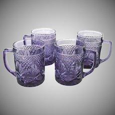 Durand Antique Pattern 4 Amethyst Glass Coffee Mugs