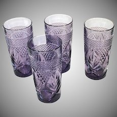 Durand Antique Pattern 4 Amethyst Glass Ice Tea Tumblers