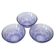 Durand Antique Pattern 3 Amethyst Glass Salad Bowls