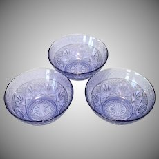 Durand Antique Pattern 3 Amethyst Glass Salad Bowls