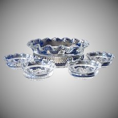 Heisey Crimped Plain Band EAPG 5 Piece Berry Bowl Set