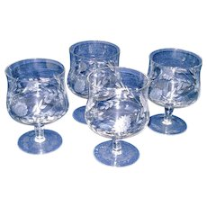 Set 4 Crystal Shrimp Cocktail Goblets Cornflower Cutting