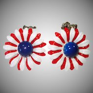 Red White Blue Flower Power Enamel Clip Earrings