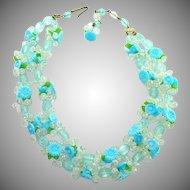 Blue Green West Germany 2 Strand Flower Necklace Fruit Salad