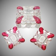 Crystal and Cranberry Glass Cigarette Box Ashtrays Smoking Set