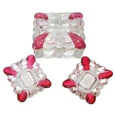 Crystal and Cranberry Glass Cigarette Box Ashtrays Smoking Set