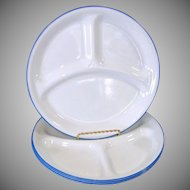 Corelle Blue Rim Divided Grill Plates Set of 4