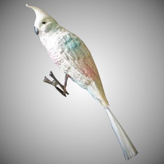 Antique 8 Inch Cockatoo Unsilvered German Glass Bird Christmas Ornament
