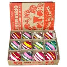 Box Shiny Brite Unsilvered Stripes Glass Christmas War Ornaments
