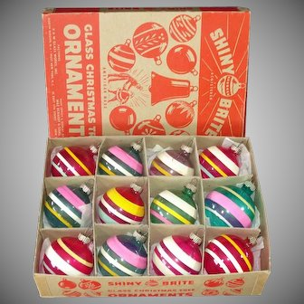 Box Shiny Brite Unsilvered Stripes Glass Christmas War Ornaments