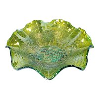 Imperial Grape Helios Green Ruffled Carnival Glass Bowl
