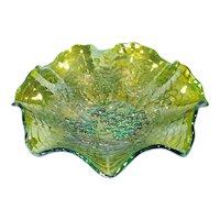 Imperial Grape Helios Green Ruffled Carnival Glass Bowl