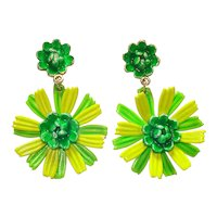 Green Chartreuse Enamel Flower Clip Earrings