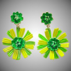 Green Chartreuse Enamel Flower Clip Earrings